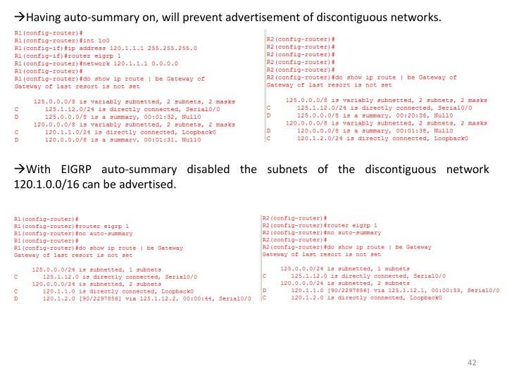 Having auto-summary on, will prevent advertisement of