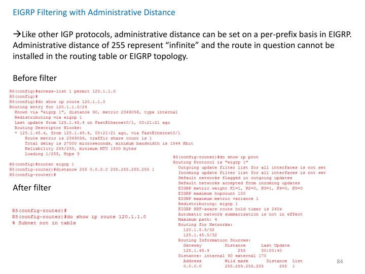 EIGRP Filtering with Administrative Distance