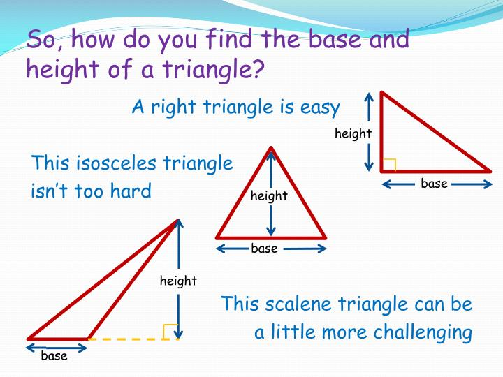 So, how do you find the base and height of a triangle?