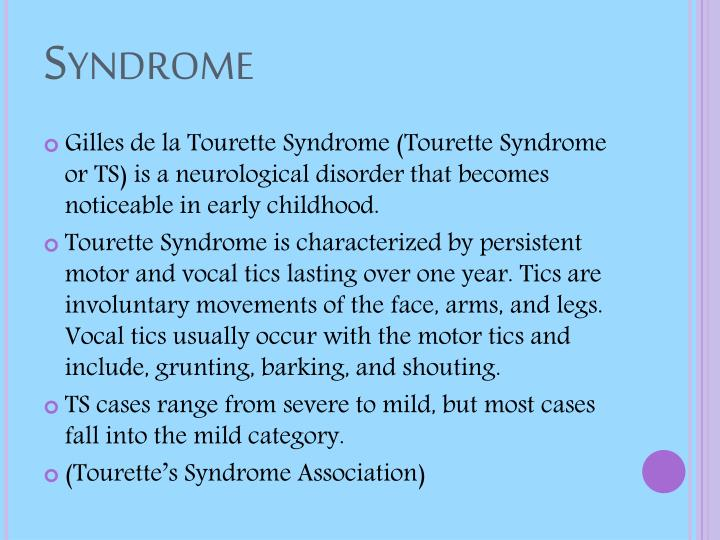 Overview of tourette syndrome