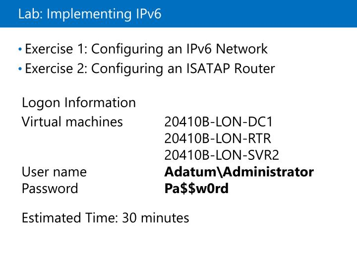 Lab: Implementing IPv6