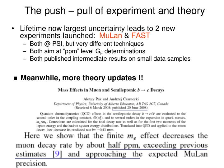 The push – pull of experiment and theory