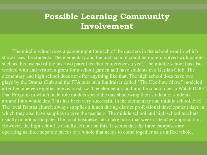 Possible Learning Community Involvement
