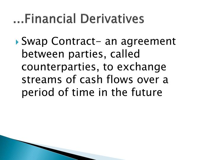 ppt financial derivatives Exchange-traded derivatives exchange traded derivatives contract (etd) are those derivatives instruments that are traded via specialized derivatives exchange or other exchanges a derivatives exchange is a market where individuals trade standardized contracts that have been defined by the exchange the world's largest derivatives exchanges (by.