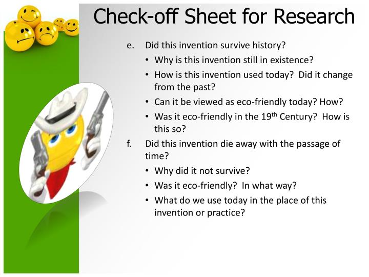 Check-off Sheet for Research