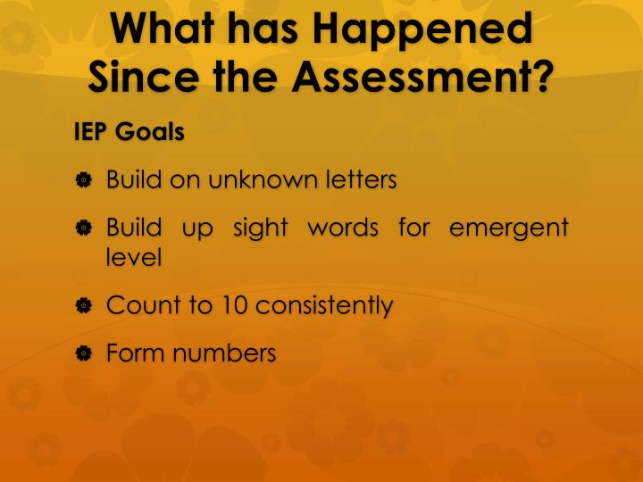 What has Happened Since the Assessment?