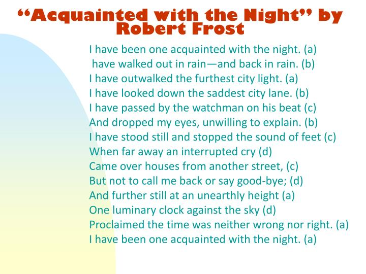 """Acquainted with the Night"" by Robert Frost"