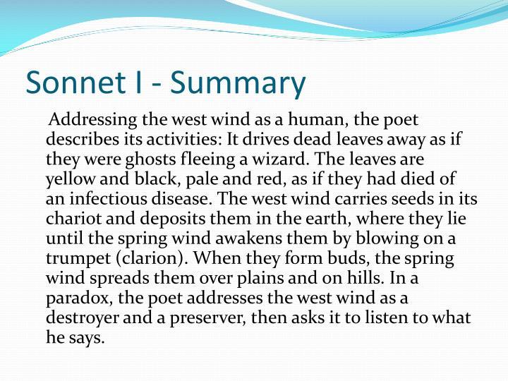 Sonnet I - Summary