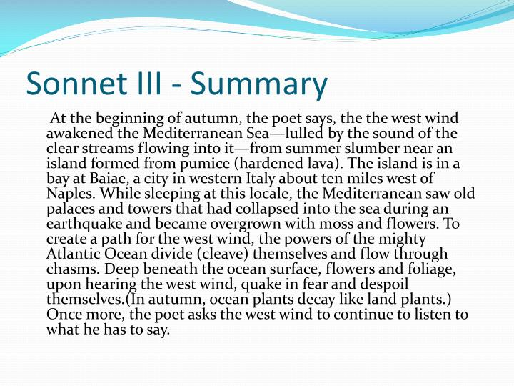 Sonnet III - Summary