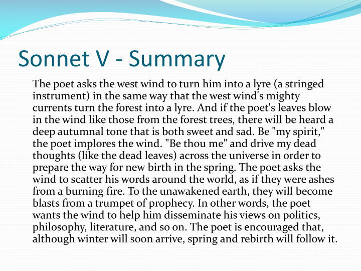 Sonnet V - Summary