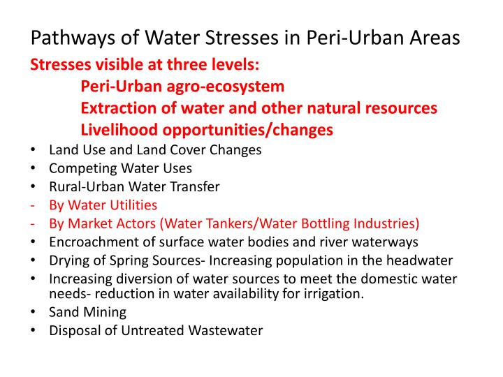 Pathways of Water Stresses in