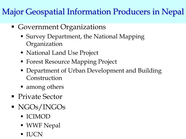 Major Geospatial Information Producers in Nepal