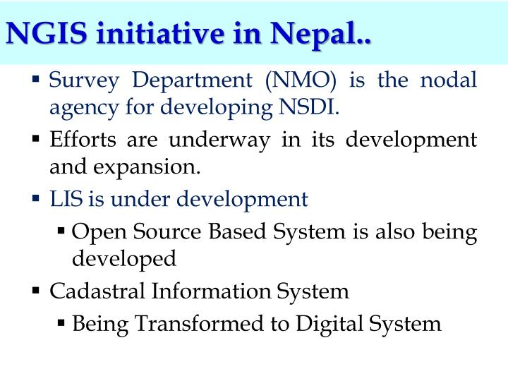 NGIS initiative in Nepal..