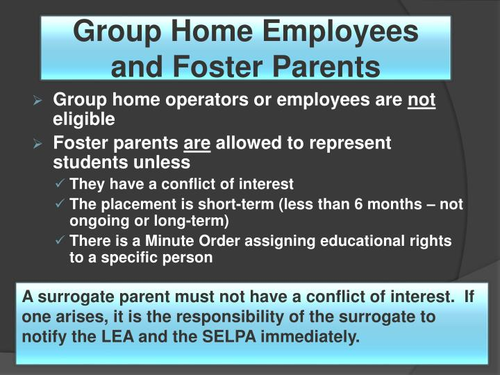 Group Home Employees and Foster Parents