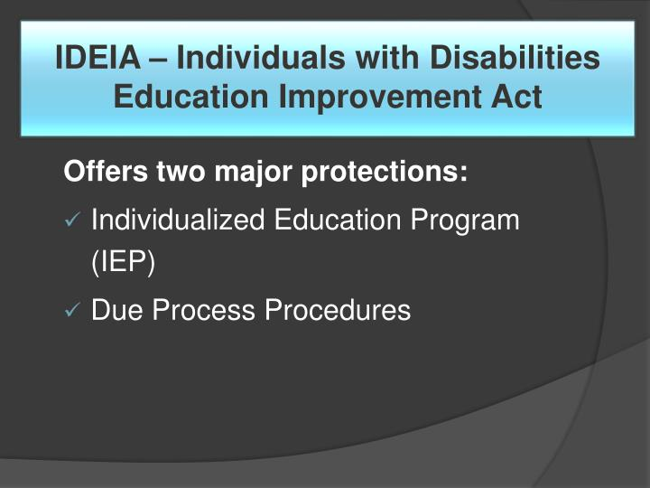 IDEIA – Individuals with Disabilities Education Improvement Act