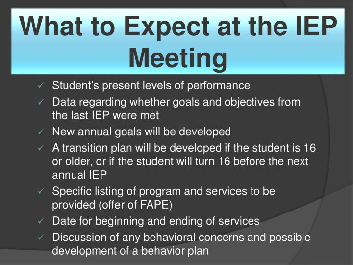 What to Expect at the IEP Meeting
