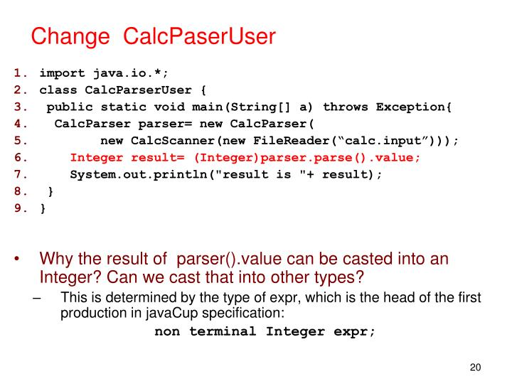 Change  CalcPaserUser