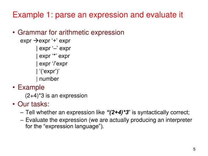 Example 1: parse an expression and evaluate it
