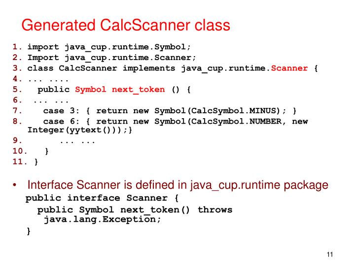 Generated CalcScanner class