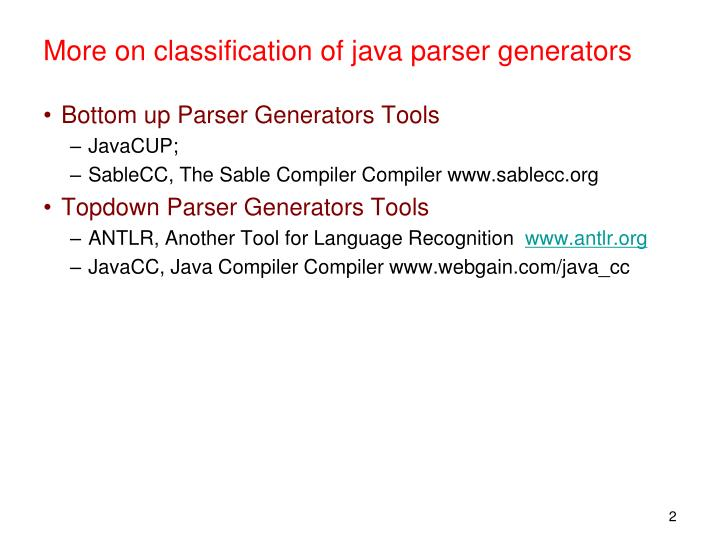 More on classification of java parser generators