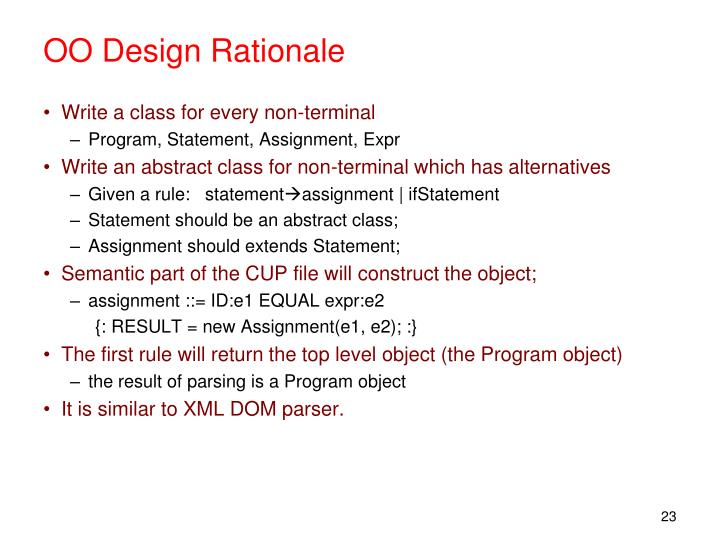 OO Design Rationale