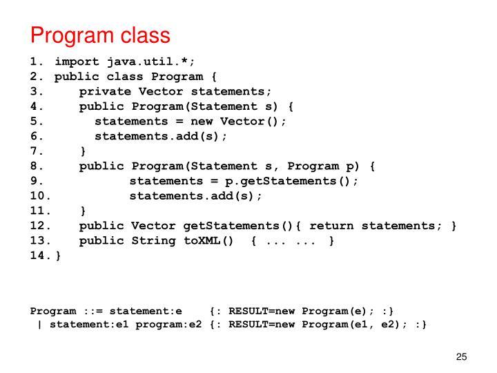 Program class
