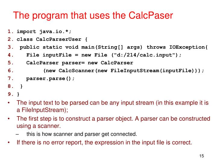 The program that uses the CalcPaser