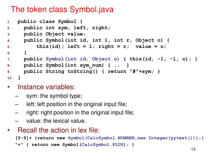 The token class Symbol.java