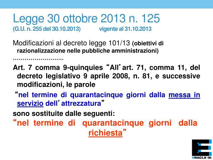 Legge 30 ottobre 2013 n. 125