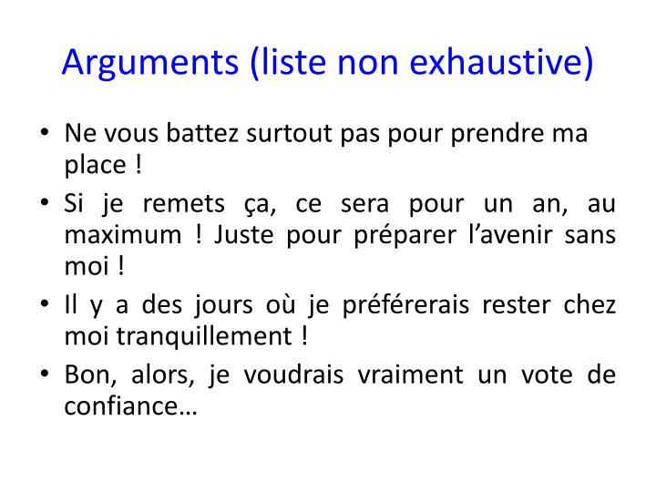 Arguments (liste non exhaustive)
