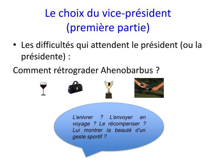 Le choix du vice-président