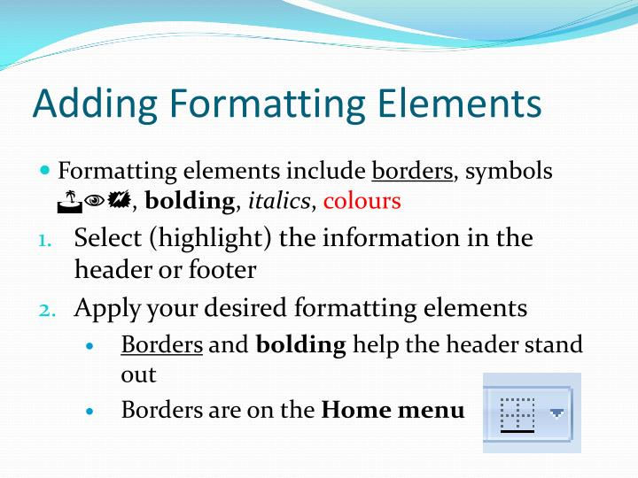 Adding Formatting Elements