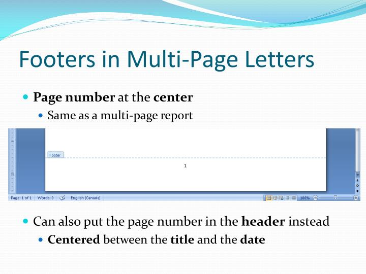 Footers in Multi-Page Letters