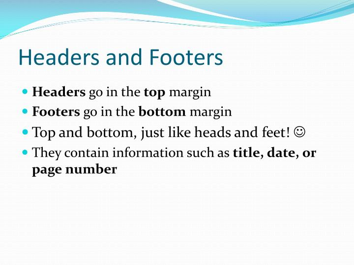 Headers and footers1