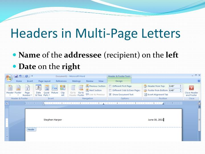 Headers in Multi-Page Letters