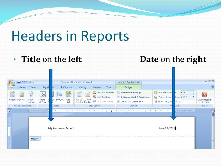 Headers in Reports