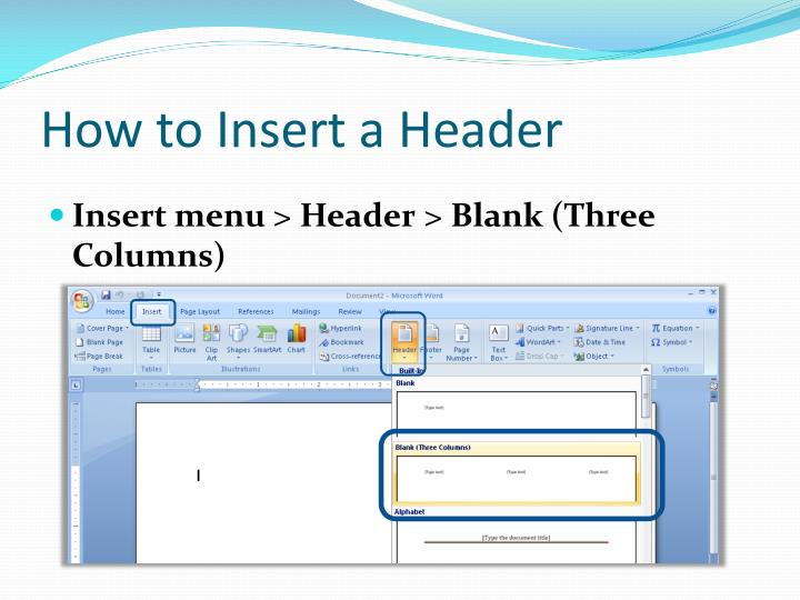 How to Insert a Header