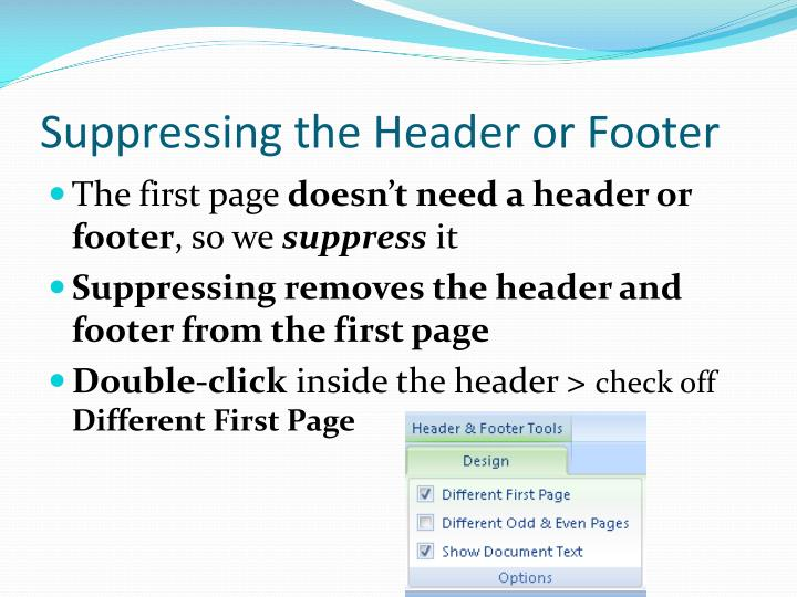 Suppressing the Header or Footer