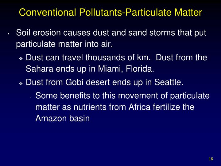 Conventional Pollutants-Particulate Matter