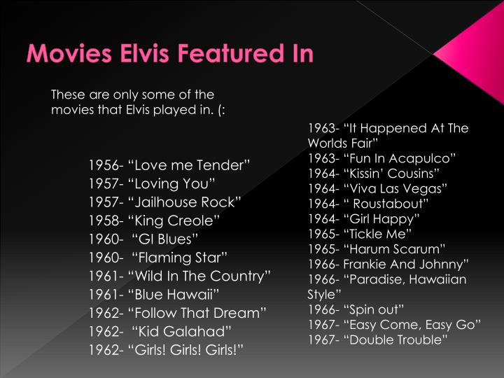 Movies Elvis Featured In
