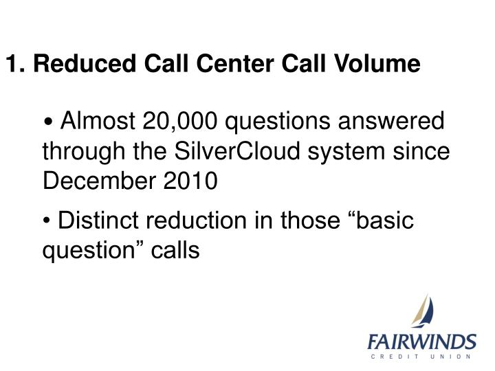 1. Reduced Call Center Call Volume