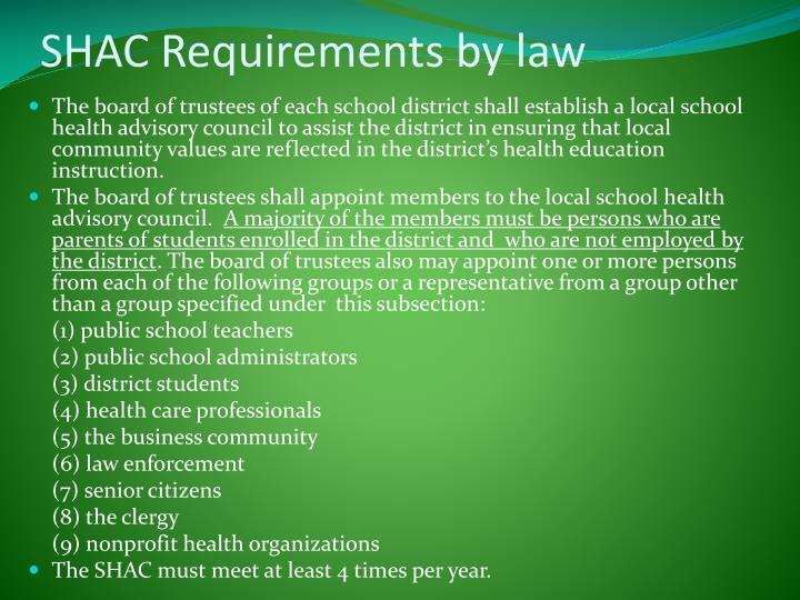 Shac requirements by law