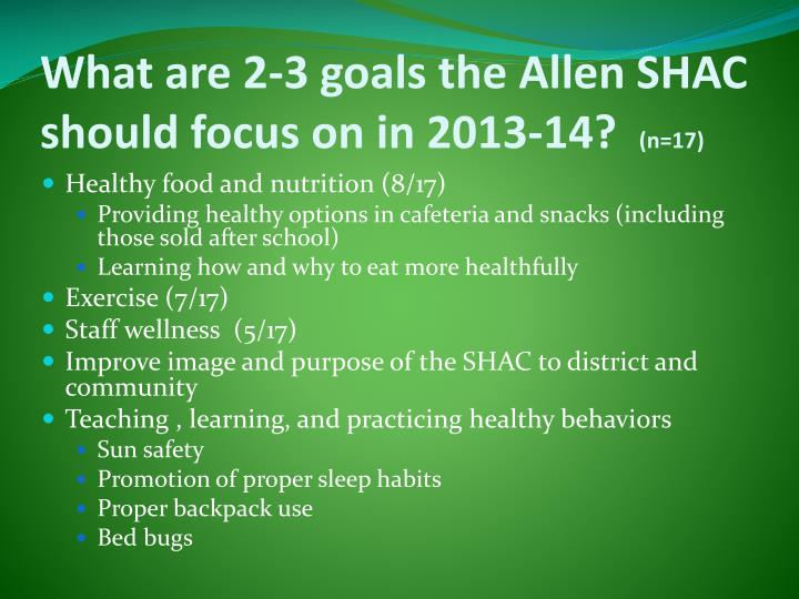 What are 2-3 goals the Allen SHAC should focus on in 2013-14?