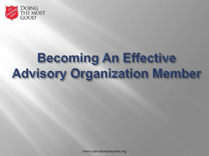 Becoming an effective advisory organization member