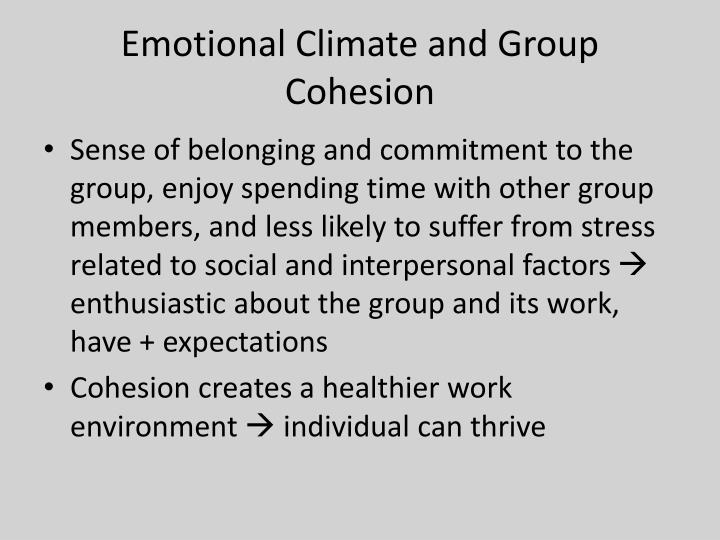 Emotional Climate and Group Cohesion
