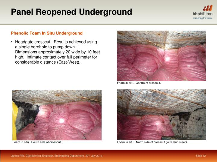 Panel Reopened Underground