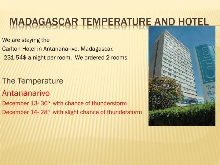 Madagascar Temperature and Hotel