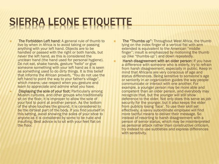 Sierra Leone Etiquette