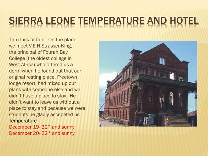 Sierra Leone temperature and Hotel