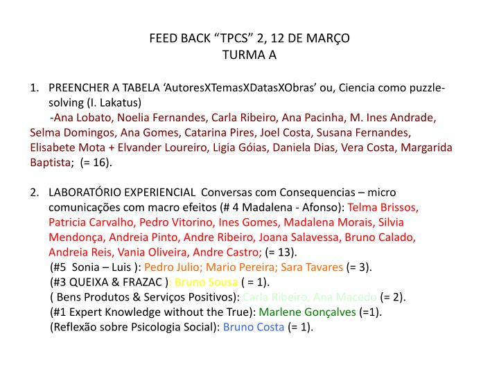 Feed back tpcs 2 12 de mar o turma a